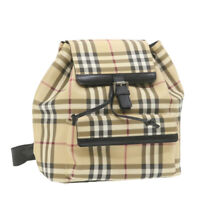 BURBERRY Nova Check Backpack Beige PVC Leather Auth th1169