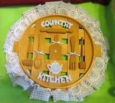 "Wood Gingham & Lace Wall Decoration ""Country Kitchen"" W/Kitchen Tools"