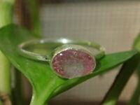 Handmade Natural watermelon Tourmaline Gemstone 925 Sterling Silver Ring Size 8