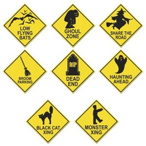 NEW HALLOWEEN ROAD SIGN CUTOUTS Party Supplies