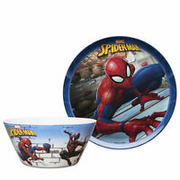 "Zak Marvel Spider-Man Kids 10"" Melamine Plate 27oz Bowl Dinnerware 2pcs Set"