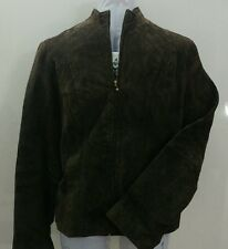 Women's Brown suede coat leather jacket B.U.M equipment. Small. New with tags