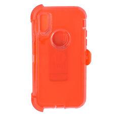 iPhone x 10 Transparent Clear Orange Defender Case Cover (Clip Fit Otterbox )