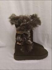 PAJAR BOOTS Women's Sydney Short Brown Fur Trim Sheepskin Shearling 8 US