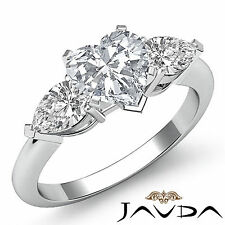 Heart Cut Three Stone Diamond Engagement Ring GIA F SI1 14k White Gold 1.5 ct