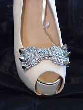 2 Silver Studded Diamante Style Bow Clips for Shoes