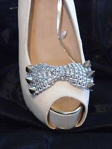2 Silver Studded Diamante Style Bow Shoe Clips