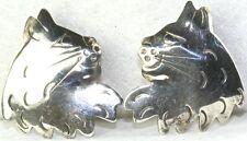 Vintage 1990'S Sterling Silver Hand Wrought Cat Earrings Autumn Walker