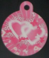 Engraved Pet ID Tag Round Pink Hearts & Butterflies Tag