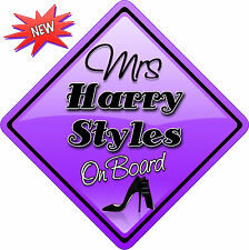 Mrs Harry Styles One Direction Novelty Car sign like Baby on Board New 1D