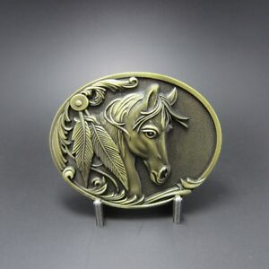 Western Decor Antiqued Bronze Plated Horsehead Belt Buckle