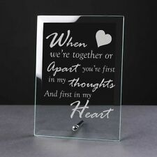 Engraved Glass Plaque Valentines Day Gift Girlfriend Couples Love Poem Hearts
