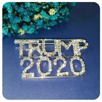 Large Sparkling Rhinestone Trump Re-Election Pin, Glowing Silver Tone