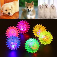 Pet Dog Puppy LED Light Up Squeaky Rubber Chew Molar Elastic Spike Ball Fun Toy