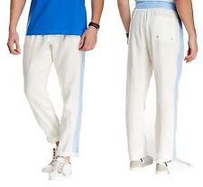 PARKE & RONEN Ravello Lightweight Linen Track Pants in White/Blue Sz.S/30-32 NWT
