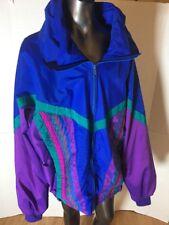 RARE 90's Pearlized Purple Fabric Winter REVERSIBLE Light Jacket  Large Size