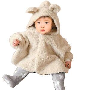 Baby Kid Toddler Fleece Bear Hooded Cape Cloak Poncho Coat Rabbit Hoodie Outwear