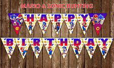 Mario & Sonic Bunting Banner Bella Decorazione Feste Bambini Compleanno Bandiera