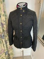 Joules Size 8 Black Moredale jacket walking country thin autumn quilted trim