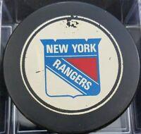 1970s VINTAGE NEW YORK RANGERS  NHL OLD SLUG CANADA HOCKEY PUCK hole N backside
