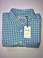 RM Williams Men's Hervey Short Sleeve 3XB Blue & White Check Shirt NEW