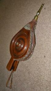 Victorian Walnut Leather & Brass Hand Carved Circle Detail Fire Place Bellows