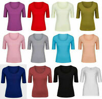 M&S Marks Spencer Women Ladies Cotton 1/2 Sleeve SCOOP Neck T Shirt Top Tee 8-24