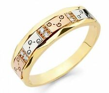 Men's 14k  three Color Solid Gold Band Ring
