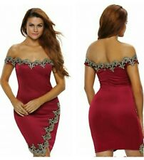 New sexy red & gold lace bodycon mini dress club party wear size UK 14-16-18