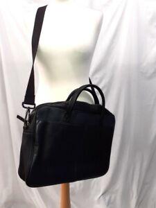 Jasper Conran Black Leather Four Pocket Laptop Messenger Bag New with Tags