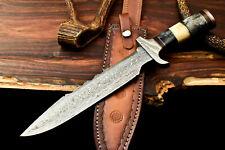 Rare Custom Handmade Damascus Steel Blade Bowie Hunting Knife | Farms Camel Bone