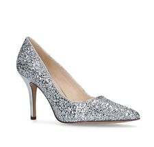 Nine West Flagship Womens UK 4 Silver Glitter High Heel Pointed Toe Court Shoes
