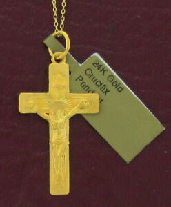 CRUCIFIX PENDANT NECKLACE 24K SOLID YELLOW GOLD ** New With Tag **