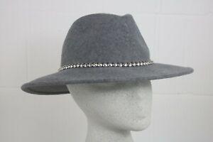WG688 Mint Velvet Grey Fedora Stud Trim Hat