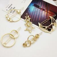 Fashion Women Simple Hollow Out Hair Clip Star Moon Hairpin Pin Hair Accessories