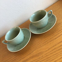 Celadon Twin Koi Fish Pattern Swimming in Circles Longquan Glaze 2 Cups/Saucers