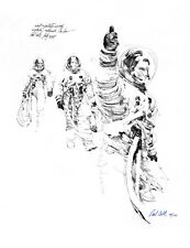 APOLLO 11 ASTRONAUT NEIL ARMSTRONG SUITING UP PRINT, NASA ARTIST PAUL CALLE