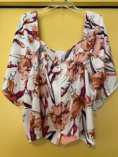 NEW Leith Floral Button Down Top, Wide Short Sleeves, Size 4X Plus, NWOT