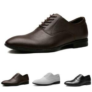 Mens Dress Formal Leather Shoes Pointy Toe Lace up Oxfords Big Size Business New