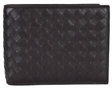 NEW Bottega Veneta Men's Dark Brown Woven Leather Bifold Wallet W/Coin Pocket