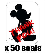 """50 Mickey Mouse Silhouette Thank You Envelope Seals / Labels / Stickers 1""""x1.5"""""""
