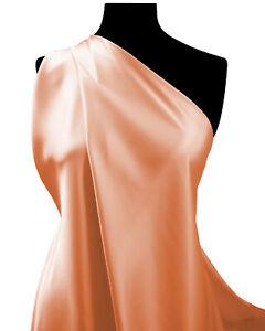 """BRIGHT PEACH Silky Satin Fabric Plain 60"""" Premium Dull Dress Bridal Fashion"""