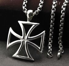 "Maltese Iron Cross Titanium Stainless Steel Pendant Necklace + 22"" Chain Pn978"
