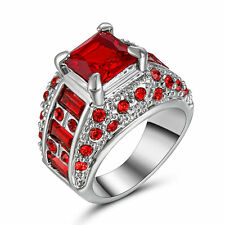 Size 6 Emerald Cut Red Ruby CZ Wedding Engagement Ring 10KT White Gold Filled