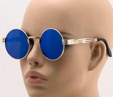 Men's Women CLASSIC VINTAGE 60's LENNON Style SUN GLASSES Round Gold Frame Blue