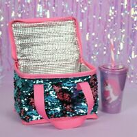 Blue Pink Reversible Sequin Lunch Cooler Bag Picnic Travel For School & Work