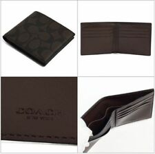NEW $150 COACH F75083 MENS SIGNATURE COATED CANVAS Double Billfold 8 Card WALLET