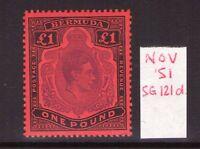 BERMUDA GEORGE VI £1 SG121d Nov 51 Ptg lightly hinged.