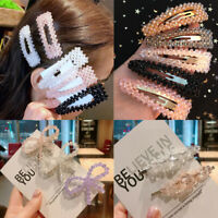 Women's Slide Snap Pearl  Hair Clips Barrette Grips Hairpin Crystal Pins