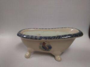 "Vintage Soap Dish Claw Foot Bathtub Shape Ceramic Floral, Candle Holder 9"" Long"